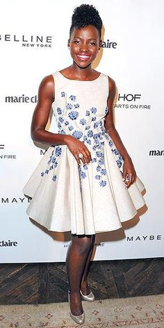Last Night's Look: Love It or Leave It? | LUPITA NYONG'O | Welcome back to the red carpet, Lupita! (Man, have we missed you since awards season ended.) The actress dons an embroidered fit-and-flare dress by Giambattista Valli at a Marie Claire event for the May cover girls in L.A.