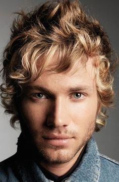 Light Brown Hair Men | Man long medium curly and wavy haircut in blonde and light brown and ...