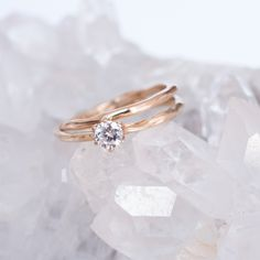 Mini band and Diamond Solitaire engagement ring in rose gold by 27JEWELRY