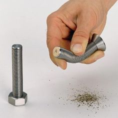 Bend it, shake it - and look what happens. A bold hex-bolt head screw changes into a salt shaker while its countersunk - flat-headed relative becomes a pepper shaker.