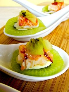 Kiwi Boat topped with Lobster and Scallion Mayonnaise AmuseBouche - Home - Sweetbites Blog