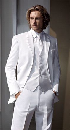 I want my husband to wear and all white tux and hopefully look like him too  :)