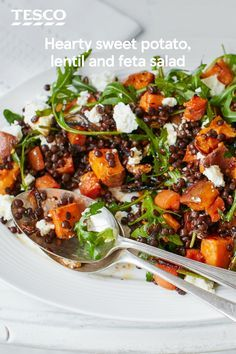 Sweet potato, lentil and feta salad Looking for a salad with substance? Look no further, this hearty dish is packed with roasted sweet potatoes, carrots and red onion, plus nutty Puy lentils and tangy crumbled feta. Healthy Salad Recipes, Veggie Recipes, Vegetarian Recipes, Cooking Recipes, Puy Lentil Recipes, Cooking Bacon, Healthy Salad For Lunch, Salads For Bbq, Lentil Meals