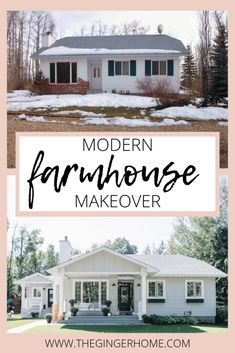 A Modern Farmhouse Style Exterior Makeover - The Ginger Home Modern Farmhouse exterior before & after. Curb Appeal DIY, how to improve curb appeal, exterior before and after, modern farmhouse makeover, scandinavian farmhouse before and after Bungalows, Modern Farmhouse Style, Modern Country, Mid-century Modern, Farmhouse Style Homes, Architecture Renovation, Home Renovation, Kitchen Renovations, Exterior Renovation Before And After