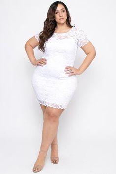 Plus Size Lace Bodycon Dress - White