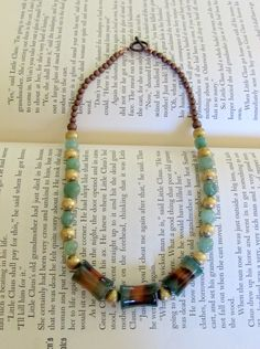Green Agate and Polished Brass Beaded Necklace by TangibleImaginings on Etsy
