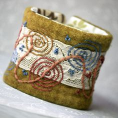 Fabric Cuff Hand Embroidered Circles and Lace Bamboo by Waterrose, $87.00