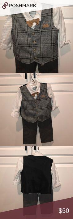 f2fd5d5a9cb 3 piece Suit - vest slacks pinstripe shirt bow tie Koala Kids Koala Baby  Boutique