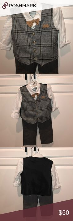 752324f2b594 3 piece Suit - vest slacks pinstripe shirt bow tie Koala Kids/Koala Baby  Boutique