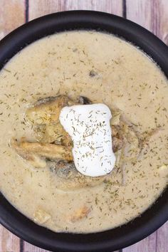 Cream Of Mushroom Soup Recipe - This mushroom soup is rich and creamy with a hint of dill and the tang of Greek yogurt. It is the perfect first course to a nice dinner or is a great entree all on its own. #SoupRecipe