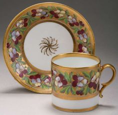A Paris porcelain~Painted Floral and gilt decorated coffee cup and saucer~Origin France~Circa 1830-1870