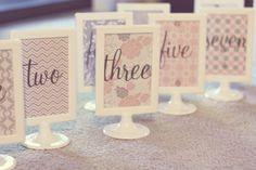 grey and pink wedding table numbers I made. #wedding #grey and pink
