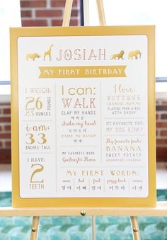 Whimsical Gold Safari First Birthday Party // Hostess with the Mostess® Wild One Birthday Party, Safari Birthday Party, Golden Birthday, Boy First Birthday, Boy Birthday Parties, Birthday Ideas, Tangled Birthday, First Birthday Posters, Birthday Invitations Kids