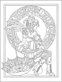 Dover Publications Creative Haven Steampunk Fashions Coloring Book Artwork By Marty Noble