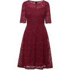 Elegant Women Lace Corchet Short Sleeve Pure Color Party Dress ($27) ❤ liked on Polyvore featuring plus size women's fashion, plus size clothing, plus size dresses, red, lace cocktail dress, lace midi dresses, cocktail party dress, short-sleeve maxi dresses and red party dresses
