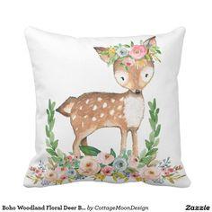 Boho Woodland Floral Deer Baby Girl Nursery Pillow