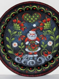 Bunny Painting, Tole Painting, Rosemary West, Bunny Lamp, Rosemaling Pattern, Blue Ottoman, Candy Cane Wreath, Christmas Crafts, Christmas Stuff