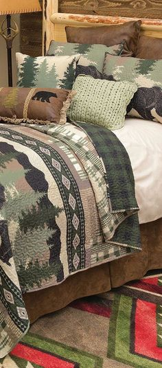 Bear Bedding Quilt | Stay cozy with meandering black bears accented with plaid and southwestern geometric patterns on this lightweight, soft microfiber polyester bedding with cotton back.