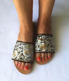 Handmade Leather Slip On Sandals Black Swan Greek