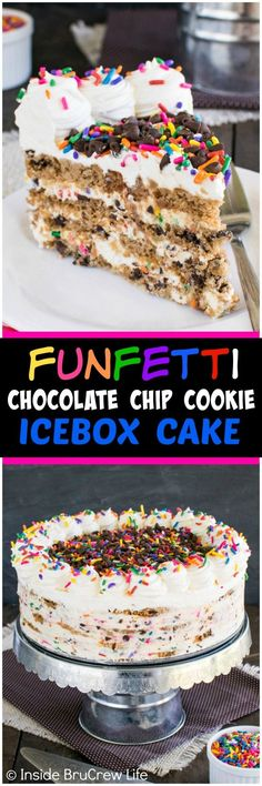 Funfetti Chocolate Chip Cookie Icebox Cake - layers of no bake cheesecake and cookies make this a fun cake for any party. Great recipe for summer picnics!: http://insidebrucrewlife.com/2016/06/funfetti-chocolate-chip-cookie-icebox-cake/