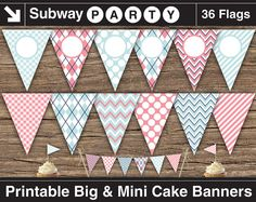 """INSTANT DOWNLOAD Printable Blue Pink Gender Reveal Party Banner. 7"""" Big Party Banner & 1"""" Mini Cake Bunting. Add Your Own Text / Photo DIY. on Etsy, $5.20"""