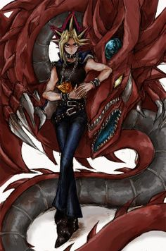 In love with this AMAZING art work of #Yugi #Atem with one of his favourite Egyptian God monsters Slifer the Sky Dragon! One of the things I loved about Atem is his faith and determination to overcome any obtsacle life gives him...very much like Seto Kaiba :)