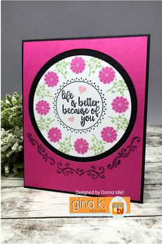 Stamp Set: Wreath Builder Mini Kit Ink: GKD Black Onyx, Passionate Pink, Jelly Bean Green, Bubblegum Pink Pure GKD Luxury Card Stock: Black, White and Passionate Pink