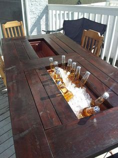 My room-mate and I built ourselves a deck table with built in coolers. I thought you guys might appreciate it. - These guys are geniuses! Deck Table, Porch Table, Outdoor Dinning Table, Bbq Table, Patio Tables, Wooden Tables, My Dream Home, Home Projects, Diy Furniture