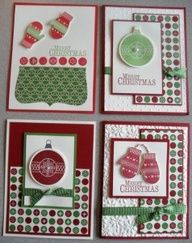 Handmade Christmas cards using Stampin Up!s Chock-Full of Cheer stamp set.