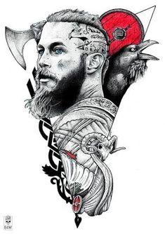 Vikings Ragnar, Ragnar Lothbrok, Viking Tattoo Sleeve, Norse Tattoo, Sleeve Tattoos, Thai Tattoo, Maori Tattoos, Tribal Tattoos, Viking Symbols