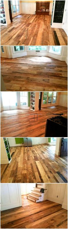 The wood pallets are not just great because they can fulfill the furniture need of the home, they are great because they can also be used for creating the repurposed wood pallets flooring. You can see how amazing it looks when it is copied for the home.
