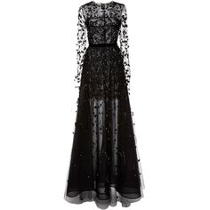 Oscar de la Renta Illusion Pearl and Beaded Embroidered Gown (€10.735) ❤ liked on Polyvore featuring dresses and gowns