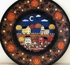 Halloween Folk Art Hand Painted Plate by RavensBendFolkArt on Etsy