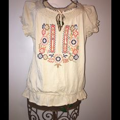 Lucky Brand Peasant Style Top Worn once, still in almost new condition. No stains, etc.. Very cute for summer. Beautiful embroidered pattern. Lucky Brand Tops