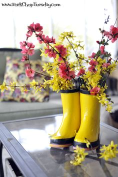 """These recycled rain boots add just the right amount of """"sunshine"""" until the real thing comes out of hiding...looking forward to spring !"""
