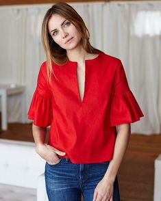 How to wear the red tops which suits your needs red tops emerson fry Fashion Wear, Look Fashion, Fashion Dresses, Ruffle Top, Blouse Designs, Casual Outfits, Red Outfits, How To Wear, Clothes