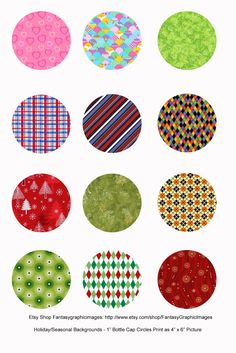 """Free Printable Collage Sheets: Free Bottle Cap - 1"""" Circle Collage Sheets From Etsy Shop Fantasygraphicimages"""