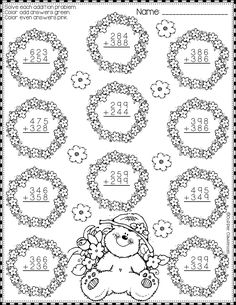 Spring Addition with Regrouping Color-by-Code Printables Math Practice Worksheets, 2nd Grade Worksheets, Math Resources, Subtraction Activities, Math Activities, Math Sheets, Second Grade Math, Math Practices, Free Printable Worksheets