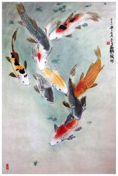 Eight Japanese Koi by on DeviantArt Koi Fish Drawing, Koi Fish Tattoo, Fish Drawings, Koi Painting, Japan Painting, Koi Art, Fish Art, Japanese Koi, Japanese Prints