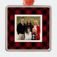 Add a favorite photo to this square ornament for a festive and memorable addition to your tree! Design features a border of wintry, holiday-perfect buffalo plaid in classic black and red. Buffalo Check Christmas Decor, Plaid Christmas, Country Christmas, Holiday Photos, Holiday Cards, Red And Black Plaid, Holiday Festival, White Elephant Gifts, Buffalo Plaid