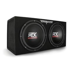MTX Audio Terminator Series Dual Sub Enclosure Car Electronics. A great improvement to the anemic base sound system for car music. Small Subwoofer, Best Subwoofer, 12 Inch Subwoofer, Subwoofer Speaker, Subwoofer Box, Speakers, Nottingham, Car Speaker Box, Quad