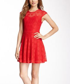 Look what I found on #zulily! Red Lace Cap-Sleeve Mini Dress #zulilyfinds