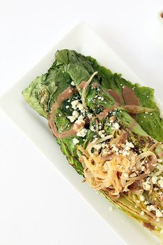 Grilled Romaine with Caramelized Onion Noodles, Blue Cheese and Greek Yogurt Balsamic Dressing (but I'm subbing the blue cheese for feta!)