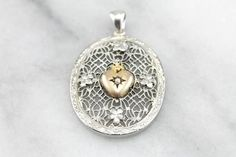 Art Deco or Edwardian Filigree White Gold Pendant with Victorian Heart Center