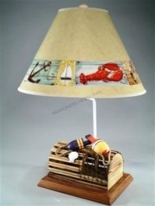 "Lobster Trap Eletric Lamp with Brent Shade 28"" from Handcrafted Nautical Decor - In stock and ready to ship"