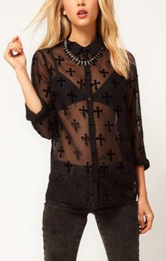 Love the Crosses! Keepin' the Faith Blouse! Sheer Black Lapel Cross Embroidery See-through Long Sleeve Blouse  #Sheer #Black #Cross #Blouse