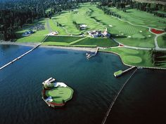 Golfers! This floating green in Cda, Idaho is something to play. http://piggington.com/files/images/aerialfloatinggreen1024.jpg