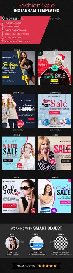 Fashion Sale Instagram Templates — Photoshop PSD #mega fashion Sale #sales • Available here → https://graphicriver.net/item/fashion-sale-instagram-templates/18813997?ref=pxcr