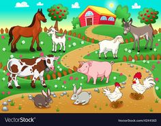 Farm animals with background. Vector and cartoon illustration , Farm animals with background. Vector and cartoon illustration , Farm animals with background. Vector and cartoon illustration ,