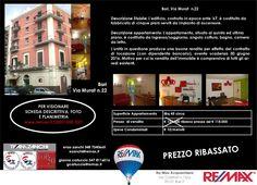 PREZZO APPENA RIBASSATO Bari, Via Murat (adiacente Questura) Bivani arredato in ottimo stato affittato con buona rendita a dipendente bancario. Ottimo Investimento www.remax.it/20031050-527 info 348 7340665